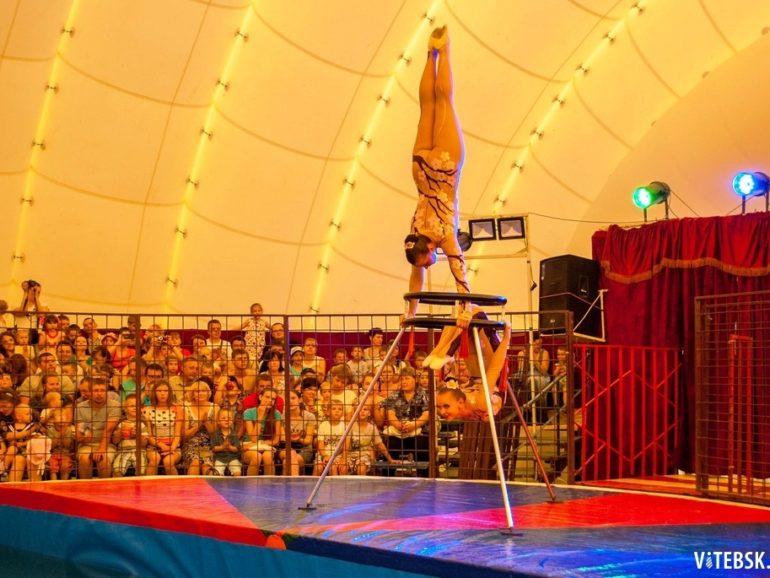 Выступление цирка внутри ангара