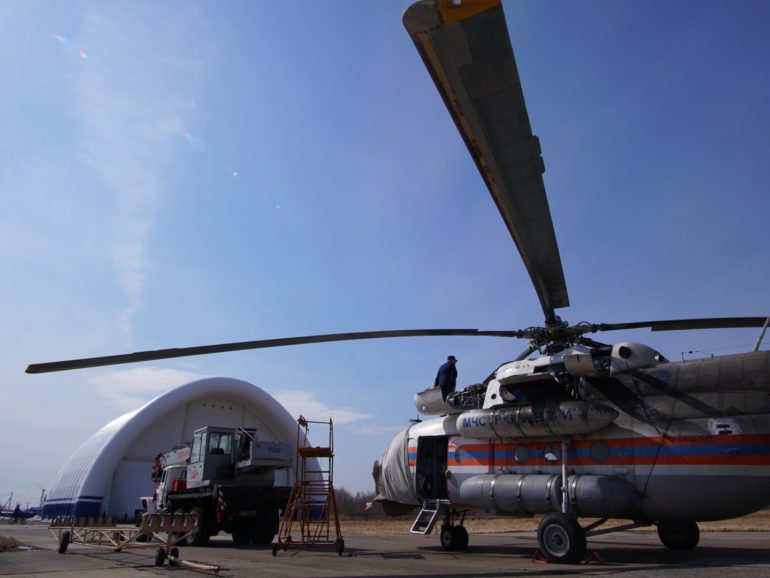 An inflatable hangar for aircraft of EMERCOM of Russia